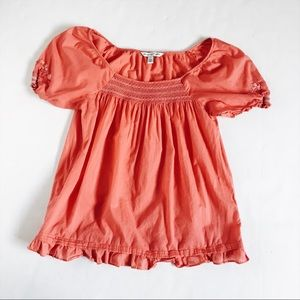 American Eagle Pink present top with embroidery